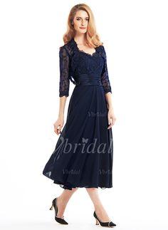 A-Lijn/Prinses V-nek Thee lengte Chiffon Kant Moeder van de Bruid Jurk met Roes (0085103563) - Vbridal