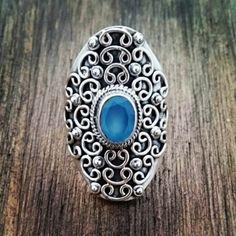 Anel com calcedônia azul 20205