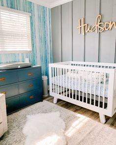 Just added to our project gallery on projectnursery.com: this colorful and fresh room for a sweet baby boy features varying shades of blue and an accent wall that we just love!   Design: @hanjean.xx