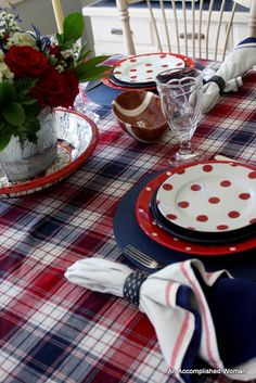 Red, White, and Blue plaid and polka dots ~ Cute idea for the 4th of July.