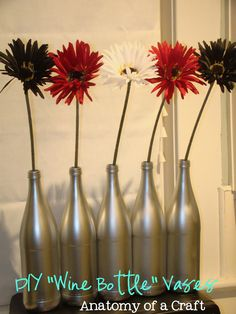 DIY Metallic Wine Bottle Vases