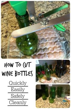 How to cut wine bottles without breaking them: Quicklly, Easily, and Safely. Cutting Wine Bottles, Old Wine Bottles, Wine Bottle Candles, Recycled Wine Bottles, Bottles And Jars, Paint Wine Bottles, Painted Bottles, Soda Bottles, Recycled Glass
