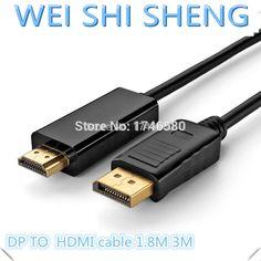 De alta calidad de los 6ft el 1.8 m display port displayport dp macho a hdmi macho cable adaptador convertidor para pc portátil hd proyector