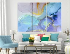 Turquoise Abstract Marble canvas art print large wall art in office decor, framed abstract art for l Abstract Watercolor Art, Abstract Canvas Art, Ink Painting, Painting Canvas, Modern Artwork, Modern Wall Art, Large Wall Art, Large Canvas Prints, Bedroom Prints