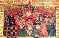 1303.Bonifacio VIII, Anagni. Pope Bonifatius viii in Anagni with cardinals.14th cent.