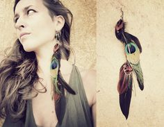 extra long TRIBAL FEATHER EARRING dark green brown by SiamicWear, €19.00