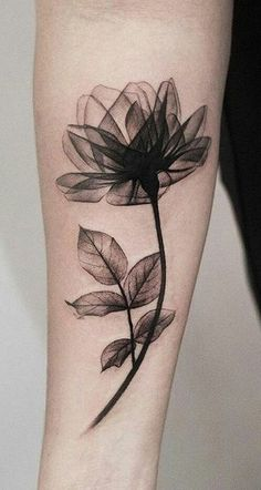 Beautiful Black Magnolia Arm Tattoo Ideas for Women - Watercolor Delicate Forearm Tat - www.MyBodiArt.com #tattoos