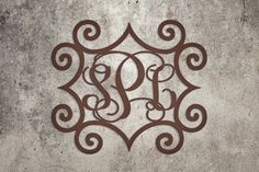Wrought Iron Inspired Rectangular Wall Art with Three Monogrammed Initials for Indoor or Outdoor Use