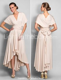 robe de demoiselle d'honneur colonne asymétrique fourreau de jersey robe convertible (633 752) - EUR € 64.99