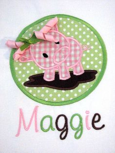 Girls Personalized Pig Shirt Farm by SewingByGrace, $17.00