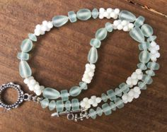 Beach Bead Necklace, Recycled Glass Bead Necklace, Seafoam Green Bead Necklace, Mint Green and White Bead Necklace, White Coral Necklace - Edit Listing - Etsy