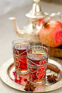 Traditional arabic tea with metal teapot from Morocco Tea Cup Art, Tea Cups, Coffee Time, Tea Time, Arabic Tea, Turkish Coffee, Tea Ceremony, Drinking Tea, Pomegranate