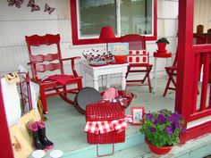 """A porch of """"everything Red and more."""""""