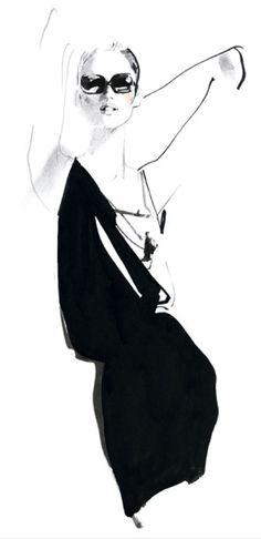 Fashion illustration David Downton, 2007, Tiffany Co.