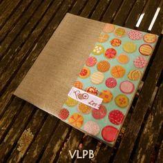 Protège carnet de coloriage en lin et coton billes