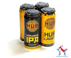 Hopworks Urban Brewery (HUB) IPA and Lager cans   Portland, Oregon