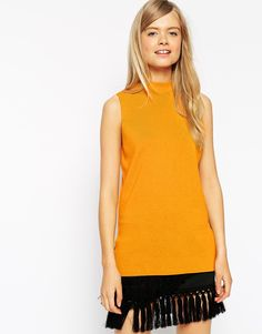 ASOS Tunic In Structured Knit With Zip Back