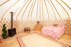 12 U.K. Airbnb Rentals To Book Now #refinery29  http://www.refinery29.com/2014/03/64851/weird-air-b-n-b-listings#slide12  Bloomsburys Glamping Yurt, Ashford   Forget what you've heard — glamping has moved even further away from hippy and closer toward luxe. Bloomsburys' Ashford-based campsite offers canvas-covered wonders outfitted with beds, heating, and electricity. There's also a wood-fired hot tub, charming communal dining area, gorgeous bath facilities with heated limestone flooring and…