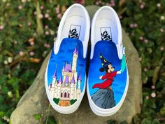 Items similar to Custom Disney Vans Slip Ons on Etsy Disney Vans, Disney Shoes, Disney Outfits, Disney Clothes, Disney Fashion, Custom Vans Shoes, Buy Shoes, Women's Shoes, Nike Shoes