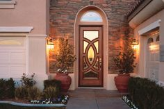db-a252 Aurora fiberglass doors are made to look and feel like solid wood, without any of the maintenance. Craftsman style door shown is displayed with two full glass sidelights, and decorative glass.