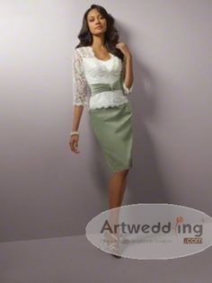 Two Toned Knee Length Satin Mother of the Bride Dress with Lace Jacket