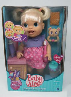 Collectible Baby Alive Doll First Teeth Edition New in Original Box Festa Baby Alive, Baby Alive Food, Baby Alive Dolls, Baby Doll Nursery, Baby Girl Dolls, Baby Doll Clothes, Baby Alive Magical Scoops, Baby Bonus, Blonde Baby Girl