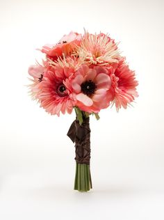 Anemones, Gerbera Daisies, and Orchids in Shades of Peach & Coral