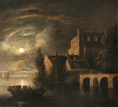 Boats on a River by Moonlight by Sebastian Pether (English, 1790–1844)