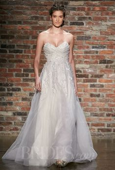 """Style 6412, """"Star"""" strapless blush tulle A-line wedding dress with a sweetheart neckline and crystal encrusted bodice, Hayley Paige"""