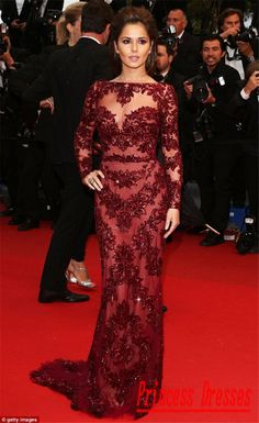 2014 For Sale Cheryl Cole Zuhair Murad Cannes Red Carpet Open Back Sexy Burgundy Lace Long Sleeves Trian Celebrity Evening Dress