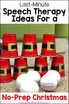Make a Santa cup stacking game. Just one of the fun last-minute games and ideas for stress-free, no-prep speech therapy sessions this Christmas! Christmas Speech Therapy, Preschool Speech Therapy, Speech Activities, Speech Therapy Activities, Speech Language Pathology, Language Activities, Holiday Activities, Speech And Language, Christmas Games