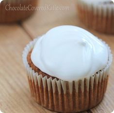 HEALTHY Sweet Potato Cupcakes with Marshmallow Frosting http://chocolatecoveredkatie.com/2013/11/11/sweet-potato-cupcakes-marshmallow-frosting/