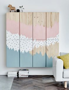 Brilliant IKEA Hacks for Big Blank Walls - potential office storage, with framed mirrors on the cabinet doors to use the space for a home gym Ikea Ivar Cabinet, Ikea Cabinets, Wall Cabinets, Cabinet Doors, Big Blank Wall, Blank Walls, Deco Kids, Painting Cabinets, Mirror Painting