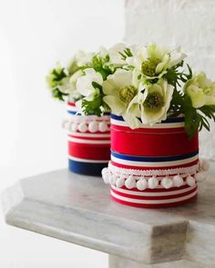 DIY Ribbon Vase - perfect for any patriotic gathering! | Sweet Paul Magazine