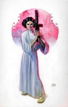 Princess Leia from Star Wars art by Andrew Robinson Andrew Robinson, Star Wars Personajes, Leia Star Wars, Star Trek, Han And Leia, Star Wars Fan Art, The Force Is Strong, Thing 1, Star Wars Poster
