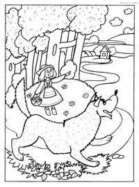 Wolf - Herunterladen und Drucken Färbung.  Coloring Wolf beschlossen, vor Rotkäppchen und die Großmutter zu essen, razukrashki für Kinder aus einem Märchen Rotkäppchen