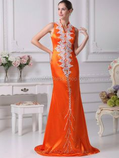 Vintage Dark Orange Silk Like Satin Floor Length Mermaid/Trumpet Evening Dress Prom Dress 2013, V Neck Prom Dresses, Best Prom Dresses, Elegant Prom Dresses, Affordable Wedding Dresses, Prom Dresses Online, Pageant Dresses, Dresses 2014, Prom Gowns