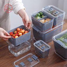 Fresh Produce Vegetable Fruit Storage Containers Fruit Storage, Kitchen Storage Containers, Refrigerator Organization, Plastic Box Storage, Food Storage Organization, Storage Boxes, Organizer Bins, Refrigerator Cabinet, Cheap Storage