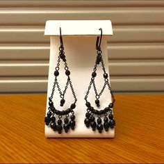 Black Beaded Chandelier Earrings Very classy jewelry. Black metal hardware with black faceted beading. Classic yet edgy. Hinge and hook closure. Open to reasonable offers! Jewelry Earrings