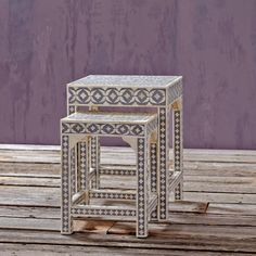 Set of 2 Bone Inlay Nesting Tables ~ Hand-Crafted by artisans in India via worldmarket.com/craft >> #CRAFTBYWORLDMARKET