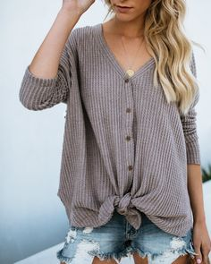 Nothing Without You Thermal Button Down Top - Mocha