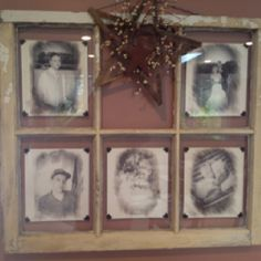Old window frame - great idea with using the old pictures.