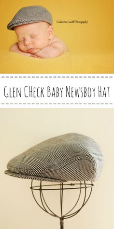 """We make baby newsboy hat using high quality suiting material. You can choose perfect size hat for your newborn photo shoot. Find us on Etsy """"dakkobabysc""""."""