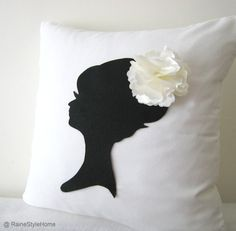 Wedding Edition. Elegant Cameo White And Black Pillow Cover. Feminine Decorative Cushion. Shabby Chic
