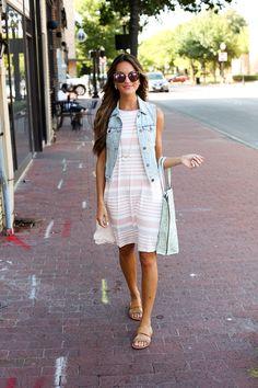 ModCloth Sunday Surprise Dress - striped swing dress,  Rock and Key Necklace ($15!), Cutout Craving Reversible Bag, denim vest, and slide sandals