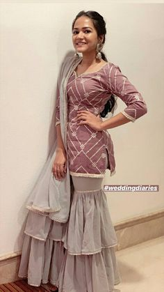 Best 12 Beautiful Kurta with layered plazo. Indian Fashion Dresses, Indian Gowns Dresses, Dress Indian Style, Indian Designer Outfits, Fashion Outfits, Designer Party Wear Dresses, Kurti Designs Party Wear, Lehenga Designs, Stylish Dresses For Girls