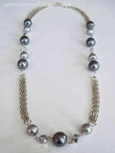 Refashioned jewelry from old or broken jewelry . . . How to Make a Chain and Bead Necklace Tutorial