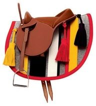 hermes saddle with bright and unusual saddle pad