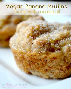 Vegan Banana Muffins made w/ Coconut Oil!  A healthy and seriously delicious treat that you're whole family will love!  thebestblogrecipes.c...