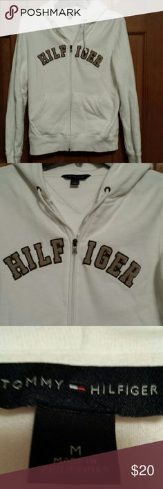 White Tommy Hilfiger Hoodie - Medium Excellent condition, ready  to weat. Tommy Hilfiger Tops Sweatshirts & Hoodies